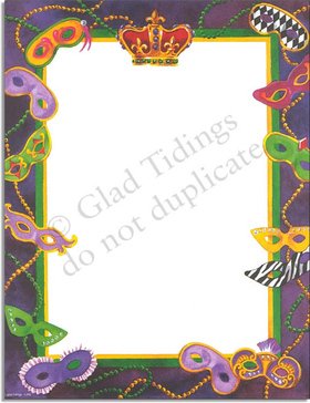 "Celebrate Mardi Gras or any costume event whit this fun and fancy laser paper!  Colorful Mardi Gras masks and beeds adorn this purple and green border, with a luxurious crown at the top. Make an impression with our premium quality colorful designer 8.5"" x 11"" laser/inkjet paper which is easy to print on your printer!<p>A wide selection of solid color envelopes are also available to coordinate with all paper styles.</p>"